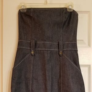 Express strapless sleeveless denim-look dress 3/4